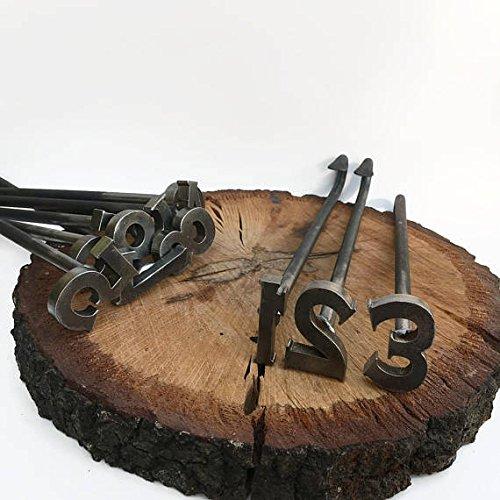 - The Heritage Forge 0-9 Number Branding Irons - 10 Numbers - Custom Cowboy Monogram Wood Handles