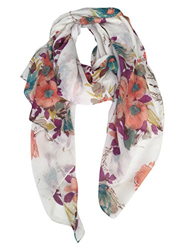 GERINLY Lightweight Shawl Scarf: Peony Print Beach Wrap For Hawaiian Vacation (Purple+Khaki)