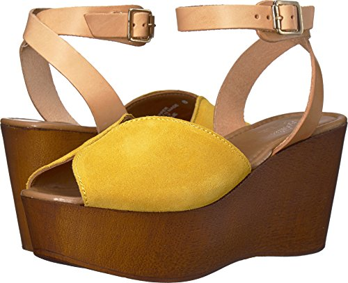 Seychelles Women's Laugh More Yellow Suede 8 M US (Wedge Sandal Wood)