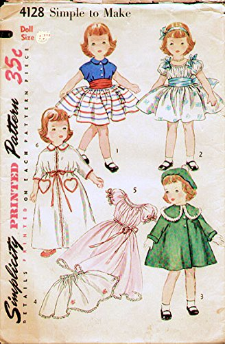 - Simplicity 4128 Vintage 1950's Sewing Pattern Featuring Clothing of the Time for Toni Doll Size 21