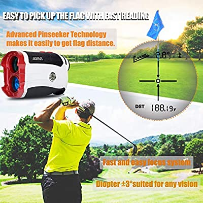 AOFAR GX-2s Slope Golf Rangefinder,600 Yards White Range Finder,Flagpole Lock, Vibration, 6X 25mm Waterproof, Carrying Case, Battery, Gift Packaging from AOFAR