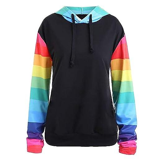 8849b0693 Ulanda Women Fashion Sweatshirts Long Sleeve Rainbow Color Block Stripe  Hoodies Pullover Hooded Sweatshirt