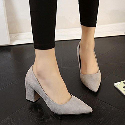 Hunpta Frauen Schuhe waren High Heels Thick One Single Schuh Shallow Suede Arbeit Schuhe Grau