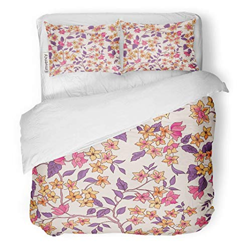 (Tarolo Bedding Duvet Cover Set Bouquet Floral Flourish Garden Flowers Pattern Vintage Wildflower Black Bloom 3 Piece Twin 68