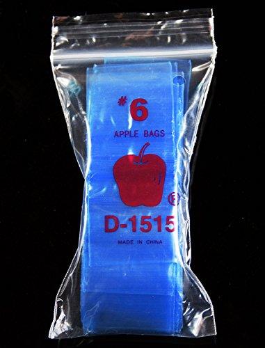 (500 Blue) Apple --2.5 Mil -- Mini Ziplock Baggies , #1515 Recloseable Bags 1.5