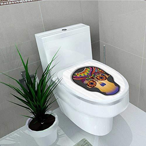Printsonne Toilet Seat Sticker Hippie Dead Flower Skull its ES Burts Flowers Waterproof Decorative Toilet Cover Stickers W6 x L8
