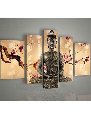 BIAN-arte de la Religión pared de pintura al óleo de Buda pintado a mano con pintura 5pcs/Pack, sin marco, color verde: Amazon.es: Hogar