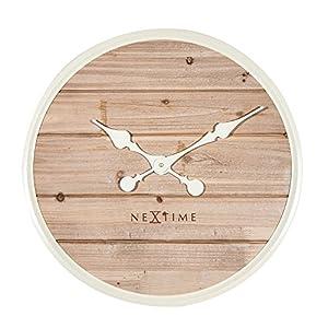 Nextime Plank Reloj de Pared, Madera, Blanco, 50 x 6 x 50 cm 4