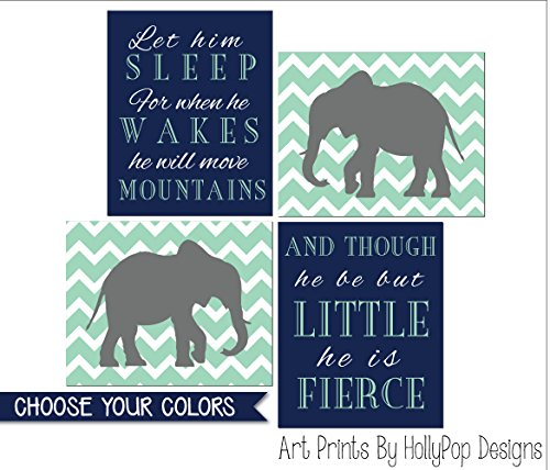 (Elephant nursery art Baby boy decor Let him sleep quote He is Fierce Navy mint boy wall prints kids room decor Boy elephant prints - SET OF 4 UNFRAMED ART PRINTS #1898)
