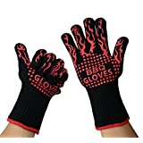 BBQ Gloves - LifeAngel BBQ Grilling Cooking Gloves-932°F 500 degree celcuis heat resistant- Gloves Silicone- Microwave Oven - Kitchen oven extreme heat resistant gloves,EN407 Certified (Red Black)