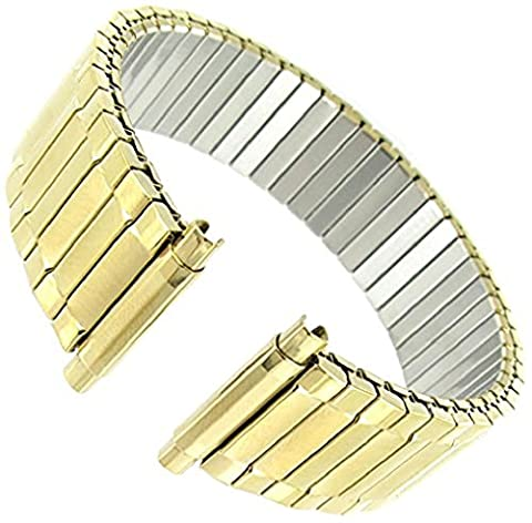 Men's Stainless Steel Stretch Watch Band, Flex Radial Expansion Replacement Strap, 16-22 mm Yellow Gold (Metal Watch Bands Replacement)