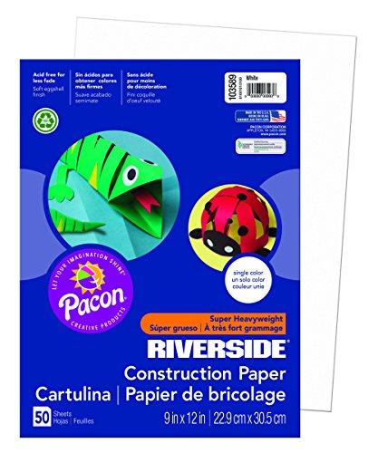 Pacon Corporation Construction Paper (Riverside 3D Construction Paper, White, 9