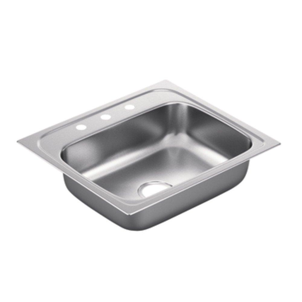 B single bowl kitchen sink Moen G Series 22 Gauge Single Bowl Drop In Sink Stainless Steel Amazon com