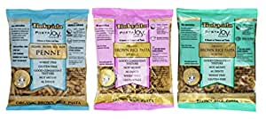 Tinkyada Organic Gluten-Free Brown Rice Pasta 3 Shape Variety Bundle: (1)  Elbow Pasta, (1) Spirals Pasta, and (1)  Penne Pasta, 12 Ounce Ea.