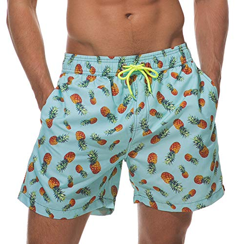 75abe29105 Vogyal Men's Swim Trunks Quick Dry Bathing Suit Beach Shorts with Mesh  Lining,Blue-Pineapple,US S
