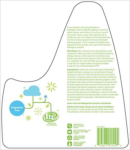 51ygT qSCgL. AC - Babyganics 3X Baby Laundry Detergent, Fragrance Free, 60oz, Packaging May Vary