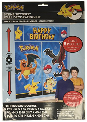 Amscan Pokemon Pikachu Scene Setters Wall Decorating Kit