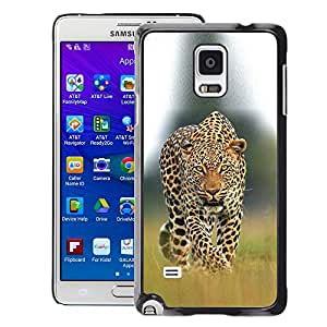 A-type Arte & diseño plástico duro Fundas Cover Cubre Hard Case Cover para Samsung Galaxy Note 4 (Leopard Ocelot Big Cat Ferocious Nature)
