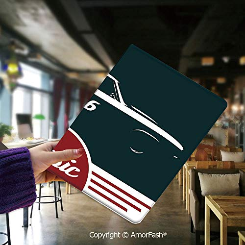 - Cover for Samsung Tab E,flip Cover for Samsung Galaxy Tab E 9.6 Cases and Covers,Man Cave Decor,Classic Vintage Sports Car Muscle Vehicle Silhouette Old Fashioned Decorative,Ruby White Dark Blue
