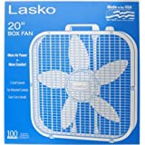 Best fan Easy Carry Handle | Lasko 20 Box Fan, White | Save-Smart Comfort for less than 2 Cents Per Hour