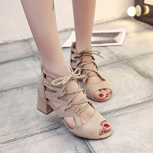 Inkach Womens Platform Sandals - Fashion Ladies Summer Lace Up Heeled Sandals - Ankle Wrap Shoes Beige Tt73Yzb