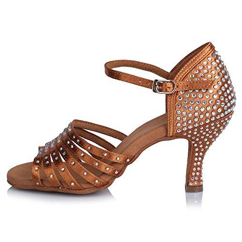 65mm de Brown en adultes de latine Tango chaussures danse hauts satin bal talons YFF personnalisables UqFHwx