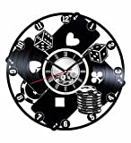 Casino Poker Wall Clock Made of Vintage Vinyl Records - Stylish clock and Amazing Gift Ideas – Unique Home Decor – Personalized Presents for Men Women Kids – Great for Living Room Bedroom Kitchen