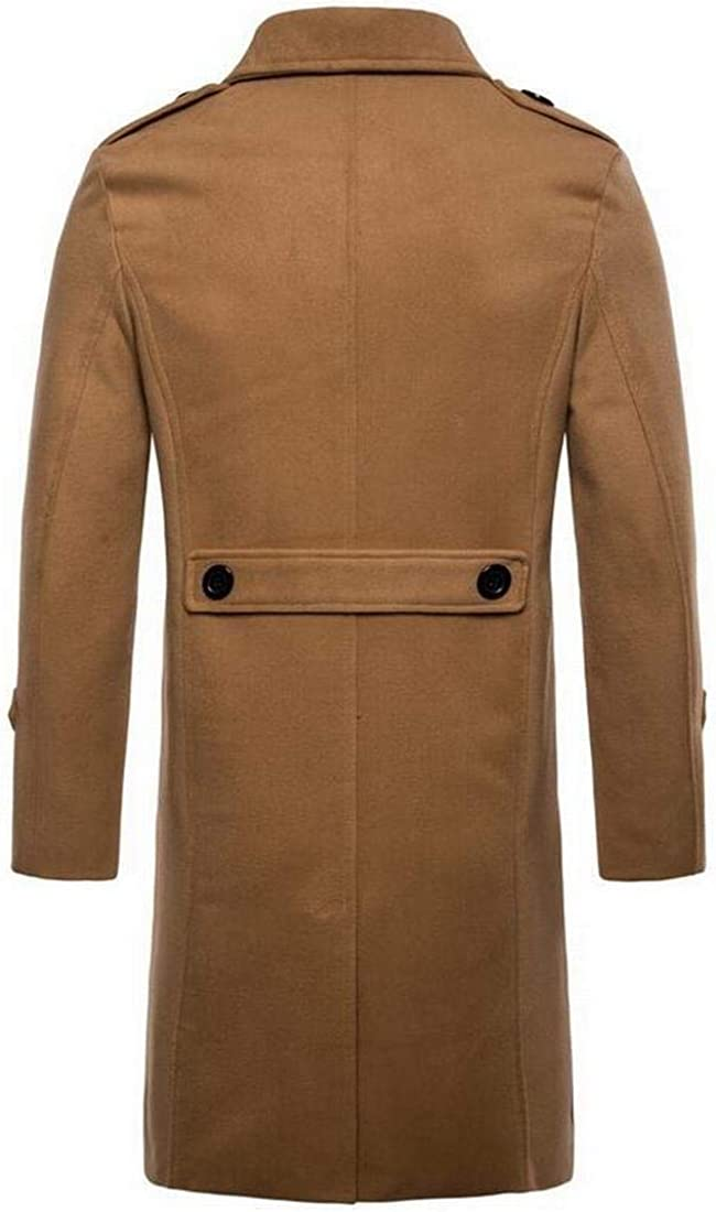 Fensajomon Mens Plus Size Single Breasted Fall /& Winter Longline Wool Blend Peacoat Trench Coat Overcoat
