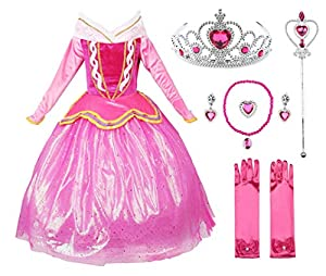 JerrisApparel Princess Aurora Dress Girl Party Dress Ceremony Fancy Costume (5, Pink with Accessories)