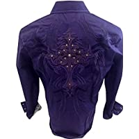Men's House of Lords Tribal Cross Embroidery With Metal Stones Western Long Sleeve Button Down Shirt Purple 1151