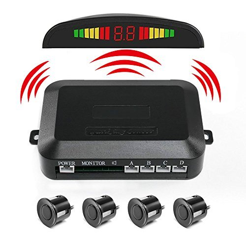 PEMENOL Wireless Car Reverse Backup Radar System 4 Parking Sensors with LED Display High Volume Warning Buzzer Controller Box (cc406581)