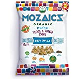 Mozaics Organic Popped Veggie & Potato Chips- Healthy snack, under 100 calories, better than veggie straws or stix - gluten free - 0.75oz single serve bags (Sea Salt, 12-count)