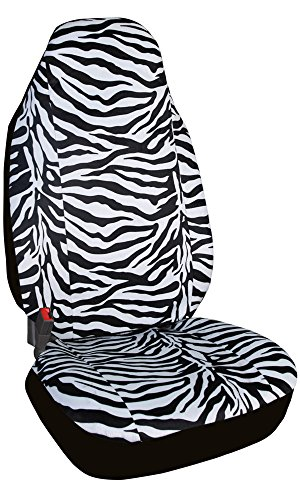 Super Soft Velour Zebra Design One High Back Front Seat Cover Bucket Universal Fits for Cars, Trucks, (High Back Buckets Part)