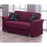 BEYAN Ohio Collection Convertible Modern Love Seat with Storage Space and Includes 2 Pillows, Burgundy