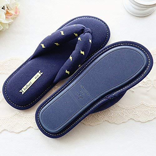 bluee JaHGDU Ladies Casual Fall Flip Flops Slipper Spring Cotton Slippers Soild color Personality Creativity for Women