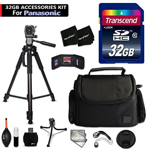 32GB Accessory Kit for Panasonic Lumix DMC-ZS60, ZS100, TZ80, TZ100, GF8, GF7, ZS50, ZS45, GX8, FZ300, G7, TZ70, TZ57 Cameras includes 32GB High-Speed Memory Card + Fitted Case + 72 inch Tripod + MORE by HeroFiber