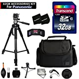 32GB Accessory Kit for Panasonic Lumix DMC-ZS60, ZS100, TZ80, TZ100, GF8, GF7, ZS50, ZS45, GX8, FZ300, G7, TZ70, TZ57 Cameras includes 32GB High-Speed Memory Card + Fitted Case + 72 inch Tripod + MORE