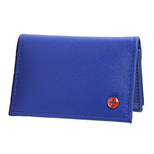 Alpine Swiss Genuine Leather Thin Business Card Case Minimalist Wallet Crosshatch Blue