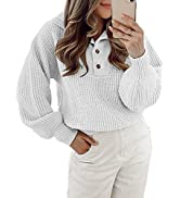 BTFBM Women Casual Button Up Turtleneck Sweaters Long Sleeve Knitted Solid Color Soft Loose Fall ...