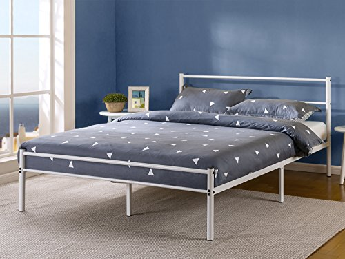 Zinus 12 Inch White Metal Platform Bed Frame with Headboard and Footboard, Queen by Zinus