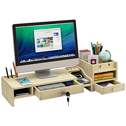 Tv Corner Stand Maple (Monitor Riser Desk Organizer and Accessories with Separate Cabinet, Monitor Stand on Drawer with Lock Office Supplies for iMac,Laptop,Computer,TV (Maple White))