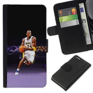 Laker 24 Baloncesto - la tarjeta de Crédito Slots PU Funda de cuero Monedero caso cubierta de piel Para Apple iPhone 5C