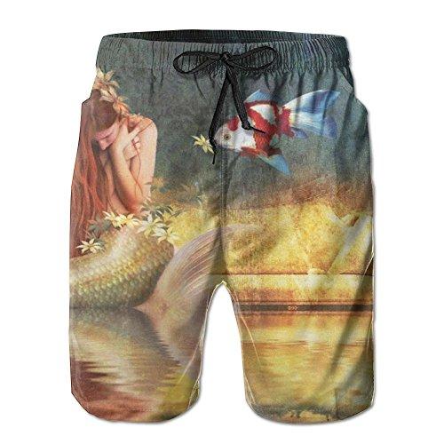 Fantasy Mermaid Fish Men's/Boys Casual Quick-Drying Bath Suits Elastic Waist Beach Pants With Pockets (Fish Fantasy Bath)