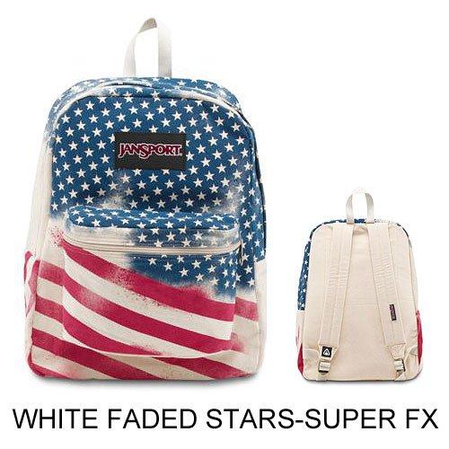 JanSport Backpack Multi Tone SUPERBREAK, SUPER FX, California Bear Various Style! Bag_Style: WHITE FADED STARS SUPER FX