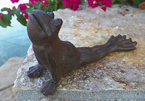 Garden Wedge - Brown Cast Iron Lazy Frog Door Wedge Door Stop Garden Decor