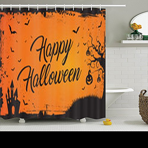 HomeCOO Design Horizontal Happy Halloween Banner Orange Pumpkin Shower Curtains 72 By 72 Inches 100% Waterproof Mildew Resistant Polyester Fabric Bath Bathroom (Happy Halloween Banner Print Out)