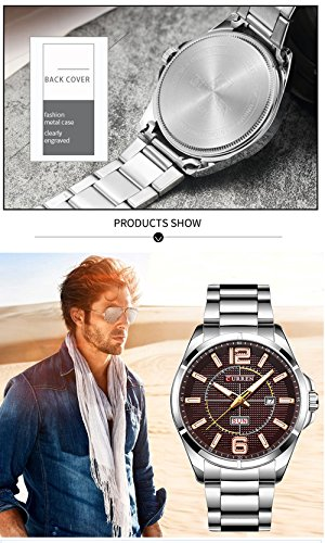 New Men Watch Quartz Water Resistant Sliver Steel Watchband Wristwatches Calendar 8271 by CURREN (Image #5)
