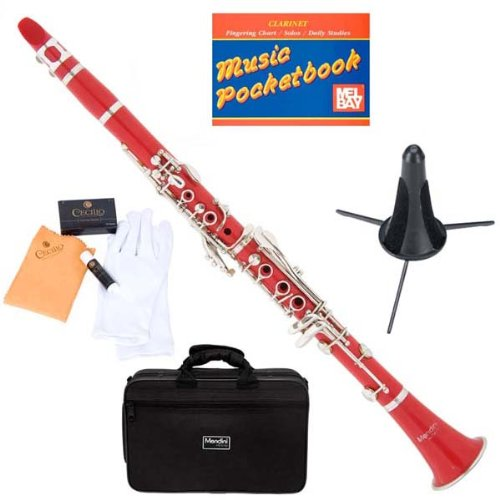 Mendini MCT-R+SD+PB Red ABS B Flat Clarinet with Case, Stand, Pocketbook, Mouthpiece, 10 Reeds and More by Mendini