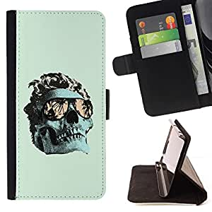 Momo Phone Case / Flip Funda de Cuero Case Cover - Verde fresco Miami cráneo Death Metal - LG Nexus 5 D820 D821