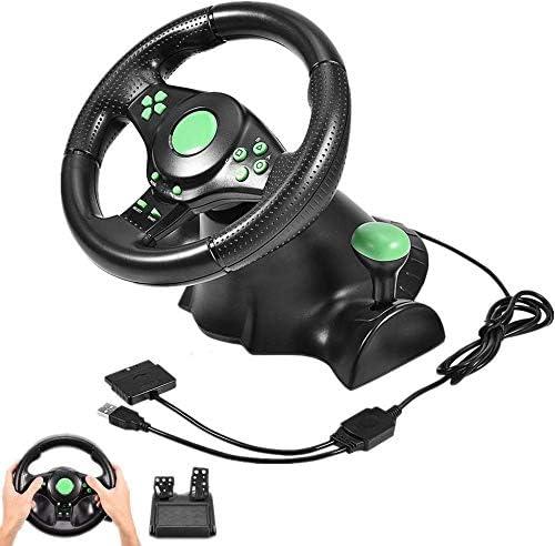 Volante de carreras, volantes simulador de carreras con 2 pedales Evaluación de la vibración, Rotación de anillo de mango antideslizante, 180 ° Ángulo de rotación, conveniente para PS2 PS3 / PC,Verde